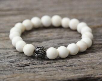 Conch Shell Diamond Pave Purity Bracelet / Cream White Beadwork, Rhodium Plated Sterling Silver Bohemian Boho Stacking Bracelet, Ocean Shell
