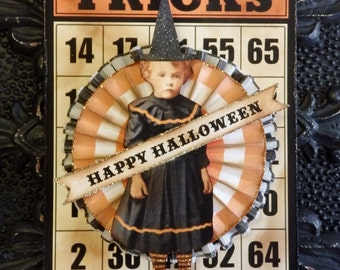 Halloween Ornament,  or Wall Hanging with Little Girl Witch by Stacy Marie