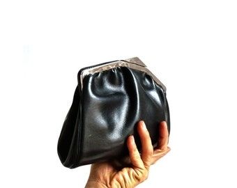 JULIE French Vintage Black Leather Maxi Purse