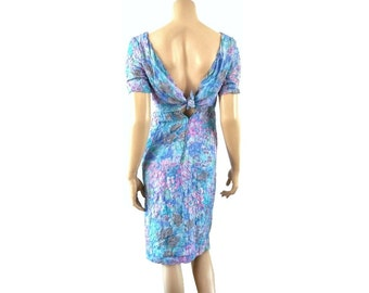 CASABLANCA French Vintage Floral Silk Dress with Low Cut Back
