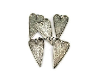 5 Large Heart Pendant Blanks Bezels Trays Settings - Silver Tone - Jewelry Making Supplies