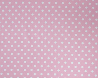 Pink Fabric, White on Pink Polka Dot Fabric, Cotton Fabric, Dot Fabric for patchwork, quilting and crafts