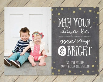 Custom Photo Christmas Card - Merry & Bright Glitter Confetti