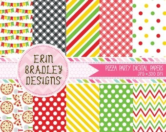 50% OFF SALE Pizza Party Digital Paper Pack Personal & Commercial Use Instant Download