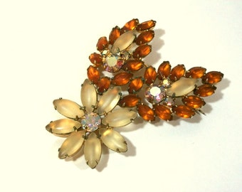 Vintage Orange and Yellow Rhinestone Flower Pin