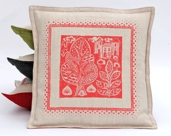 Folky Hand Printed  cushion cover / Oxford Style