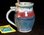 """Mug 4 3/4"""" pottery coffee cup Blue with Red"""