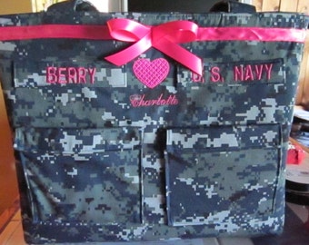 Navy wife Diaper Bag custom embroidery and personalized colors for embroidery, lining and ribbon custom bag as you like it.