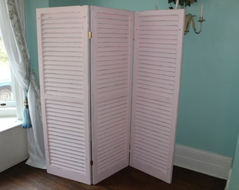 Vintage Shutter Room Divider screen shabby chic Distressed custom order Any Color cottage
