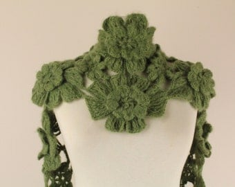 Green Daisy Flower Rectangular Cashmere Scarf - Scarflette - Express Delivery