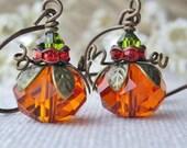 Pumpkin Earrings, Fall Festive Jewelry, Thanksgiving Holiday Jewelry, Orange Pumpkins, Cute Dangling Pumpkin Earrings.