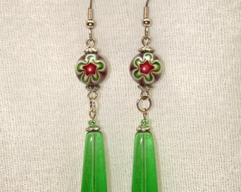 Flower Child Green Glass Drop Earrings - Free Shipping within the U.S.