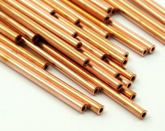 Copper Tube Beads - 50 Raw Copper Tube Beads (2x45mm)   A0665