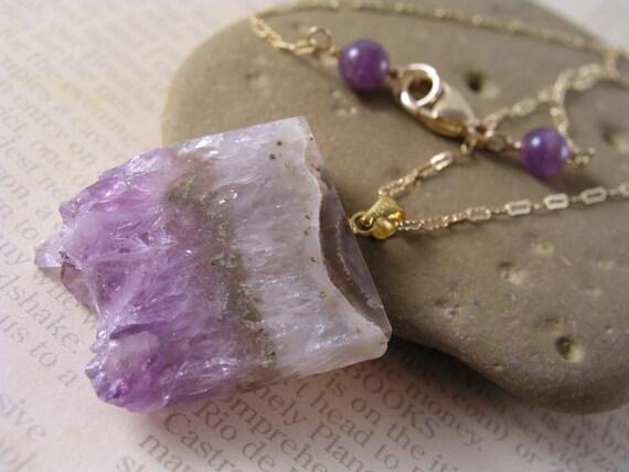 Amethyst Slice Pendant Necklace, Gemstone Necklace, Gift, Amethyst Gold Chain Necklace, Purple Amethyst Jewelry