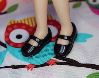 Licca Blythe Black Flat Mary Jane Doll shoes