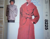 1980s McCalls 8225 Misses Unined WRAP Coat and Jacket Pattern Wide Shawl Collar Womens Vintage Sewing Pattern Size Medium 14-16 UNCUT