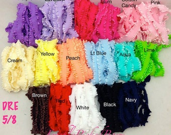 5 yards 5/8 Double Ruffle ELASTIC size  17  colors available