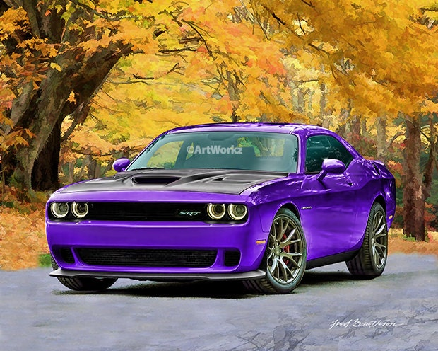 Hot rod art dodge challenger hellcat plum crazy muscle details hot rod art dodge sciox Image collections