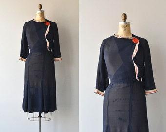Honor Society dress   vintage 1930s dress • silk 30s dress