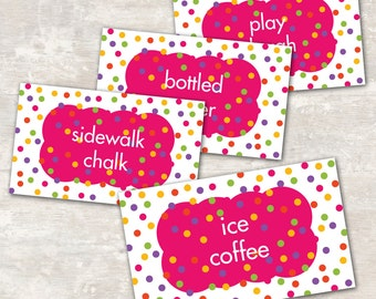 PRINT & SHIP Polka Dot Birthday Party Jar Labels (set of 8) | Paper and Cake
