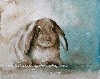 bunny print easter decor easter decoration for easter bunny art PRINT easter painting of easter wall art 8x10 lop earred robin egg blue aqua