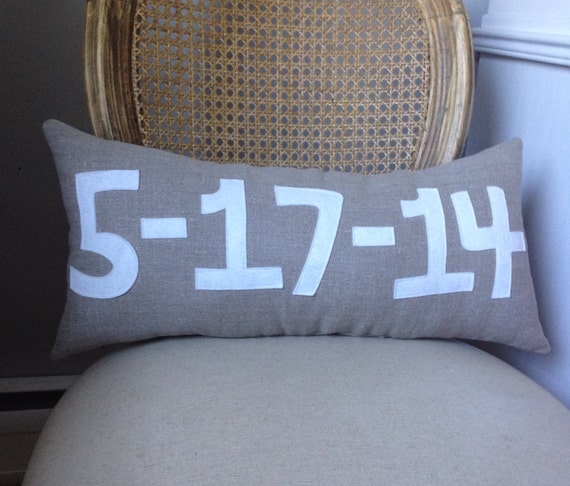 Custom Date Pillow- Wedding- Birth