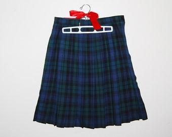 Vintage Skirt  Wool Plaid Scottish Pleats