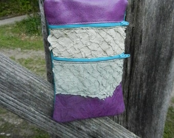 """Handmade Handcrafted Leather Pouch,Bag,Purse, in FISH SKIN front baby blue back - Zipper Tote, 9""""x 5.5""""  Adjustable Strap / 2 Compartments"""