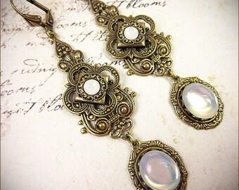 Medieval Earrings, White Opal, Victorian Earrings, Bridal, Renaissance Earrings, Medieval Jewelry, Tudor, Renaissance Jewelry, Avalon