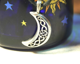 New Moon Pendant with intricate Celtic Knotwork - Celestial Charm