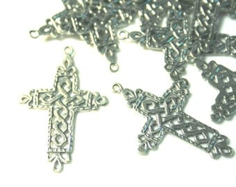 Cross Charms with Celtic Knot  Designs 4 ring Connector Pendant in Genuine Pewter