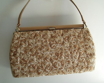 Vintage Purse Handbag bag tan brown purses handbags