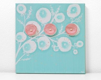 Aqua and Pink Nursery Art for Baby Girl - Flower Painting on Square Canvas - Small 10x10 - MADE TO ORDER