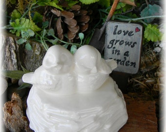 Love birds   Cake Topper Wedding in a Nest  - Ceramic White Glazed