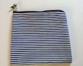 Blue and white stripe zipper pouch