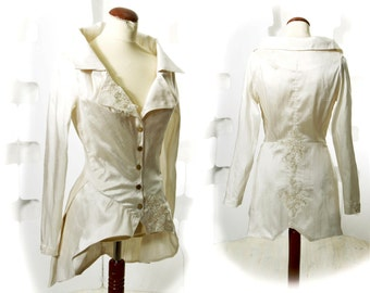Silk Jacket Handmade couture Fashion wedding Ivory white Black