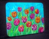 Tulips Cutting Board, Trivet, Hotplate, Cheeseboard