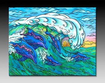 Wave Riding Ceramic Wall Tile