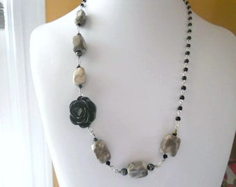 Grey Marble Chunks, Black Swarovski Black Rose Connector, Black Crystal Pearls, Jet Black AB Crystals, OOAK,
