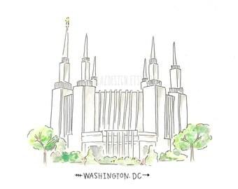 Washington DC LDS Temple  AZ212 Watercolor Painting