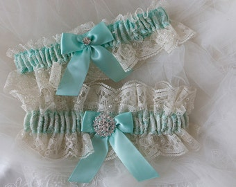 Wedding Garter Set, Ivory Lace Garter,Bridal Garter,Wedding Garter