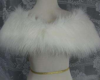 Soft White Fox Faux Fur Shrug, Faux Fur Shawl, Fur Stole, Wedding Shoulder Wrap