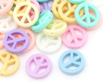 Pastel Peace Sign - Bead Mix - 16mm - 50 beads - #PA102