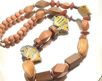 Funky Wood Fish Necklace Chunky Bold Painted Tribal Necklace