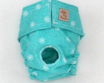 Aqua Blue Dog Diapers Small Winter Snowflakes