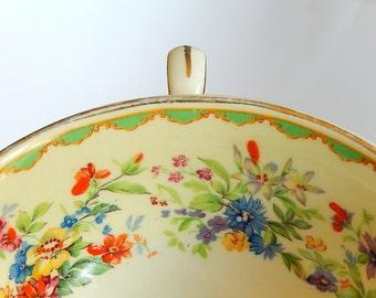 2 Vintage Johnson Bros. HP Cream Soup Bowls: English Garden Floral Motif, Colorful Hand-Painted Enamel Accents