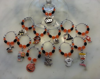 Halloween  Wine Charms set of 12 with Pouch