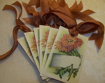 Thanksgiving Place Card Tags Autumn Place Card Tags Vintage Style Set of 6