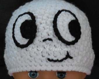 CROCHET PATTERN, Ghost Beanie, Bethie Boo, hat, face, eyes, halloween, toque, 1-12 mo, skill level intermediate