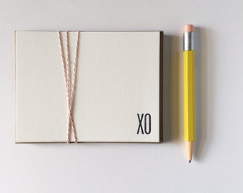 Simple Flat XO Note Cards Letterpress Printed Black and White Card Set Valentine's